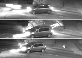 VIDEO: The moment a drug driving motorcyclist is catapulted over car